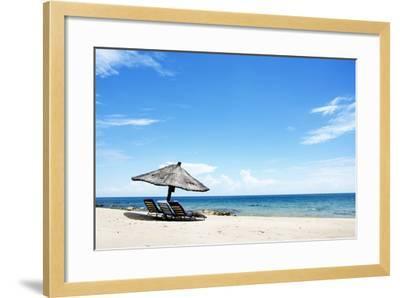 Umbrella on the Beach on a Sunny Day, Chintheche Beach, Lake Malawi, Africa-Yolanda387-Framed Photographic Print