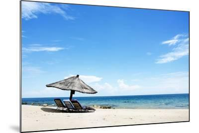 Umbrella on the Beach on a Sunny Day, Chintheche Beach, Lake Malawi, Africa-Yolanda387-Mounted Photographic Print
