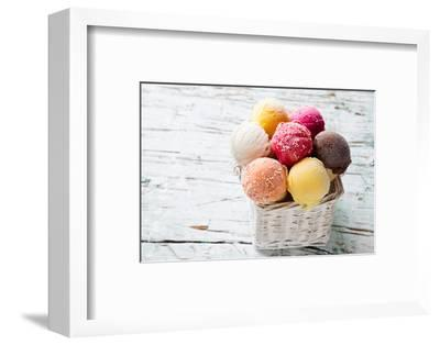 Ice Cream Scoops on Wooden Table, Close-Up.-Kesu01-Framed Photographic Print