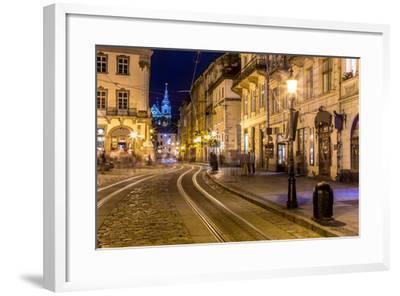Rynok Square in Lviv at Night-bloodua-Framed Photographic Print