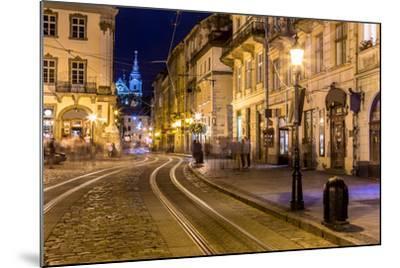 Rynok Square in Lviv at Night-bloodua-Mounted Photographic Print