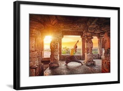 Yoga in Hampi Temple-Marina Pissarova-Framed Photographic Print