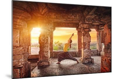 Yoga in Hampi Temple-Marina Pissarova-Mounted Photographic Print