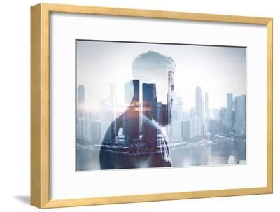 Double Exposure of Young Man-pinkypills-Framed Photographic Print
