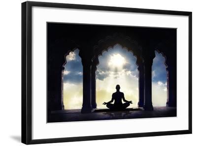 Meditating in Old Temple-Marina Pissarova-Framed Photographic Print