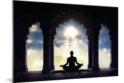 Meditating in Old Temple-Marina Pissarova-Mounted Photographic Print