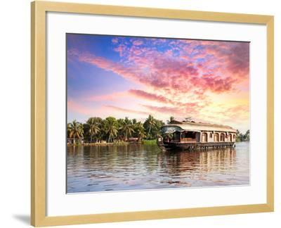 House Boat in Backwaters-Marina Pissarova-Framed Photographic Print