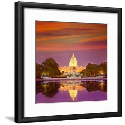 Capitol Building Sunset Congress of USA Washington DC US-holbox-Framed Photographic Print