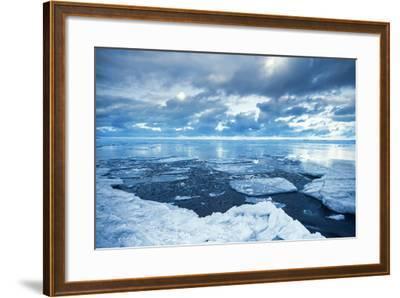 Winter Coastal Landscape with Floating Melting Ice Fragments-Eugene Sergeev-Framed Photographic Print