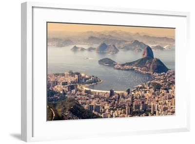 Rio De Janeiro, Brazil. Suggar Loaf and Botafogo Beach Viewed from Corcovado-Curioso Travel Photography-Framed Photographic Print