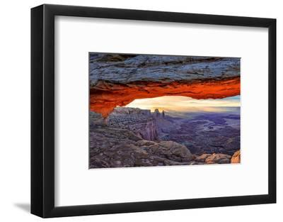 Sunrise View in the Valley Canyonlands through an Mesa Arch.-lucky-photographer-Framed Photographic Print
