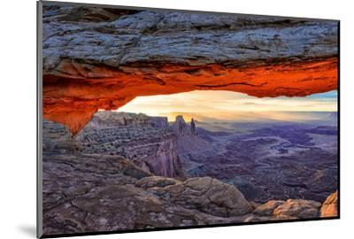 Sunrise View in the Valley Canyonlands through an Mesa Arch.-lucky-photographer-Mounted Photographic Print