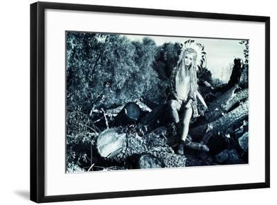 Attractive Modern Girl in Style of the American Indians. Western Style. Jeans Fashion. Tattoo.-prometeus-Framed Photographic Print