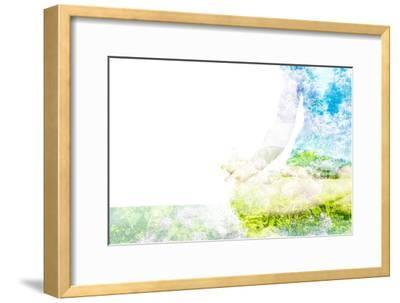Nature Harmony Healthy Lifestyle Concept - Double Exposure Clouse up Image of Woman Doing Yoga Asa-f9photos-Framed Photographic Print