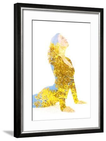 Double Exposure Portrait of Young Woman Performing Yoga Asana-Victor Tongdee-Framed Photographic Print