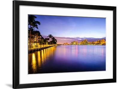 West Palm Beach Florida, USA Cityscape on the Intracoastal Waterway.-SeanPavonePhoto-Framed Photographic Print