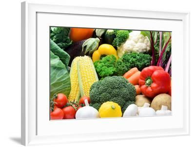 Close up of Fresh Raw Organic Vegetable Produce, Assortment of Corn, Peppers, Broccoli, Mushrooms,-warrengoldswain-Framed Photographic Print
