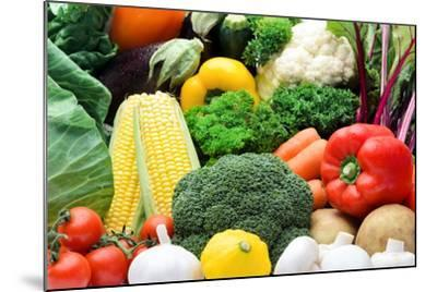 Close up of Fresh Raw Organic Vegetable Produce, Assortment of Corn, Peppers, Broccoli, Mushrooms,-warrengoldswain-Mounted Photographic Print