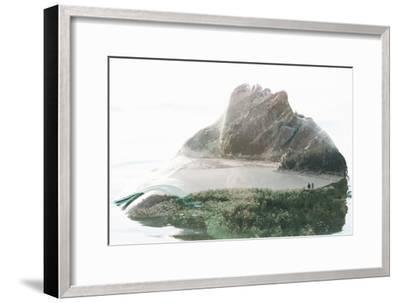 Double Exposure Portrait of Attractive Woman Combined with Photograph of Lake Surrounded by Mountai-Victor Tongdee-Framed Photographic Print