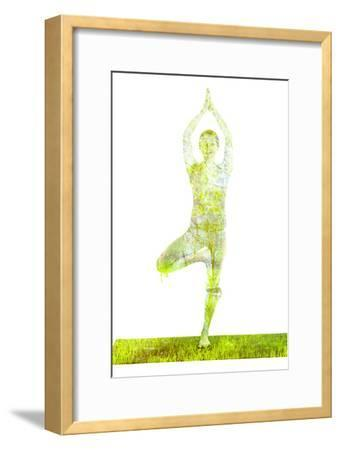 Nature Harmony Healthy Lifestyle Concept - Double Exposure Image of Woman Doing Yoga Tree Pose Asan-f9photos-Framed Photographic Print