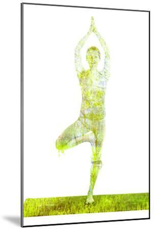 Nature Harmony Healthy Lifestyle Concept - Double Exposure Image of Woman Doing Yoga Tree Pose Asan-f9photos-Mounted Photographic Print
