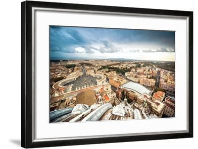 Famous Saint Peter's Square in Vatican and Aerial View of the City, Rome, Italy.-GekaSkr-Framed Photographic Print
