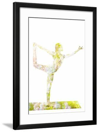 Nature Harmony Healthy Lifestyle Concept - Double Exposure Image of Woman Doing Yoga Asana Lord Of-f9photos-Framed Photographic Print