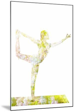 Nature Harmony Healthy Lifestyle Concept - Double Exposure Image of Woman Doing Yoga Asana Lord Of-f9photos-Mounted Photographic Print