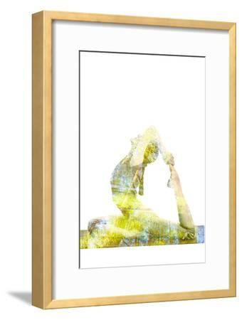 Nature Harmony Healthy Lifestyle Concept - Double Exposure Image of Woman Doing Yoga Asana King Pig-f9photos-Framed Photographic Print