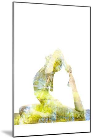 Nature Harmony Healthy Lifestyle Concept - Double Exposure Image of Woman Doing Yoga Asana King Pig-f9photos-Mounted Photographic Print