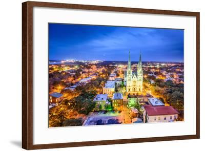 Savannah, Georgia Downtown Skyline at the Cathedral.-SeanPavonePhoto-Framed Photographic Print