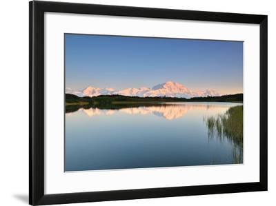 Denali Mountain and Reflection Pond-lijuan-Framed Photographic Print