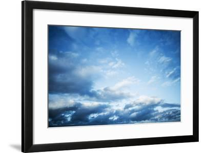 Dark Blue Sky with Clouds, Abstract Photo Background-Eugene Sergeev-Framed Photographic Print
