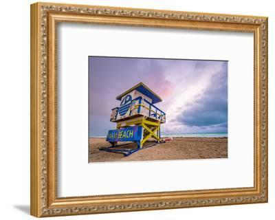 Miami Beach, Florida, USA Life Guard Tower.-SeanPavonePhoto-Framed Photographic Print