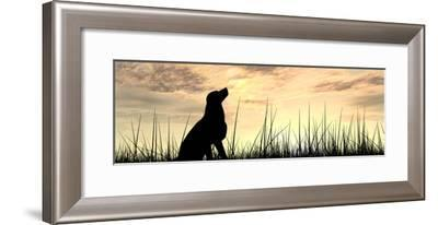 Concept or Conceptual Young Beautiful Black Cute Dog Silhouette in Grass or Meadow over a Sky at Su-bestdesign36-Framed Photographic Print
