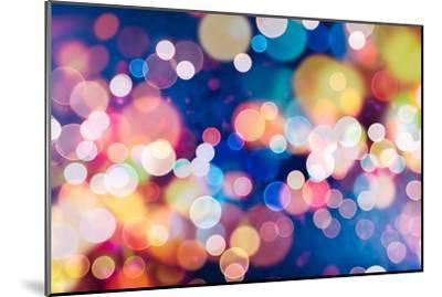 Festive Background with Natural Bokeh and Bright Golden Lights. Vintage Magic Background with Color-Maximusnd-Mounted Photographic Print