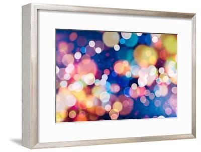 Festive Background with Natural Bokeh and Bright Golden Lights. Vintage Magic Background with Color-Maximusnd-Framed Photographic Print