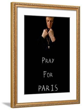 Pray for Paris.An Old Praying Woman in Black-Tolikoff Photography-Framed Photographic Print