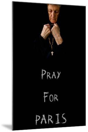 Pray for Paris.An Old Praying Woman in Black-Tolikoff Photography-Mounted Photographic Print