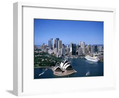 Australia Aerial of Sydney Opera House and Cruise--Framed Photographic Print