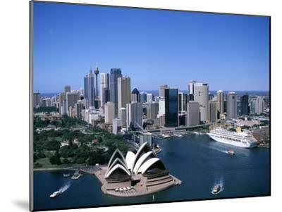 Australia Aerial of Sydney Opera House and Cruise--Mounted Photographic Print
