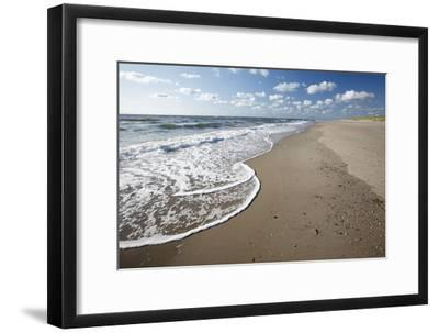 Waves Breaking on Empty Beach--Framed Photographic Print
