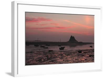 Lindisfarne Castle at Dawn over Harbour--Framed Photographic Print
