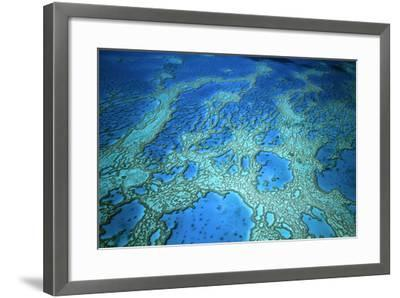 Hardy Reef Aerial of Coral Formations--Framed Photographic Print