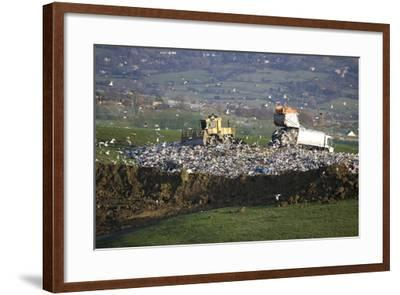 Refuse Truck at Landfill--Framed Photographic Print