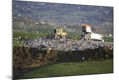 Refuse Truck at Landfill--Mounted Photographic Print