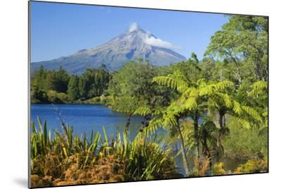 Mount Egmont Lake, Tree Ferns and Perfectly Cone-Shaped--Mounted Photographic Print