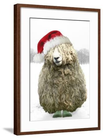 Longwool Sheep Wellington Boots Wearing Christmas Hat--Framed Photographic Print