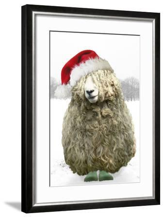 Longwool Sheep Wellington Boots Wearing Christmas Hat--Framed Photographic Print