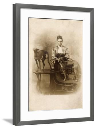 Woman with Two Greyhounds--Framed Photographic Print